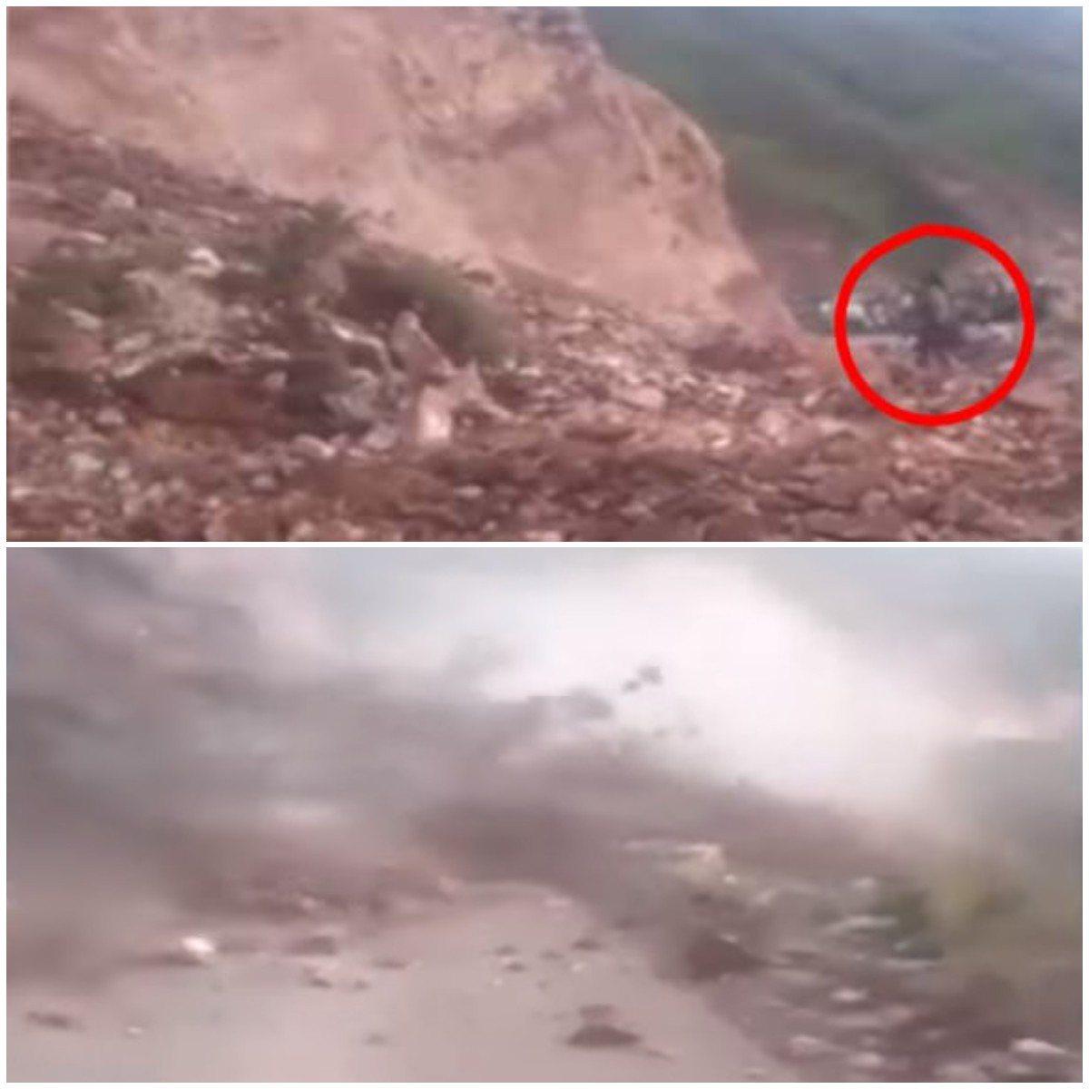 祕魯婦人花爾帕日前不顧他人的勸阻吶喊,仍執意站在山腳下的一處,沒多久,大量的土石...