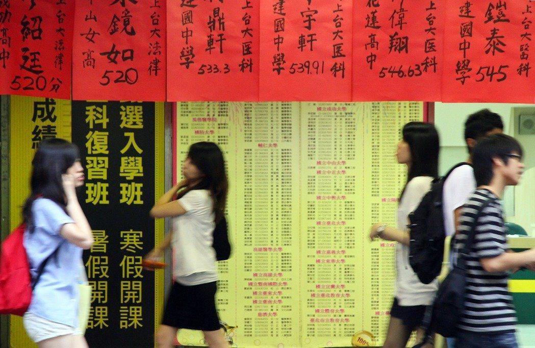 圖為某年大學考試入學分發放榜,台北市南陽街的騎樓下,貼滿學生錄取榜單。 報系資料...