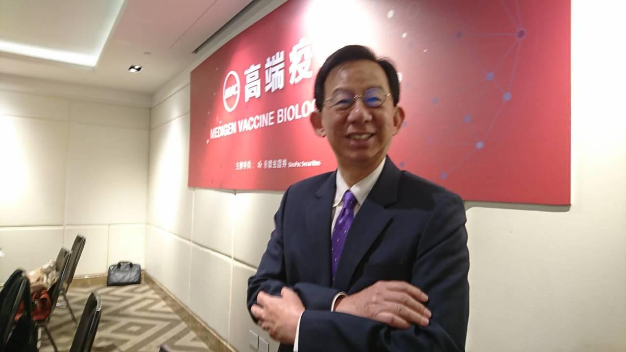 高端疫苗總經理陳燦堅對未來營運策略非常有信心 記者黃淑惠/攝影
