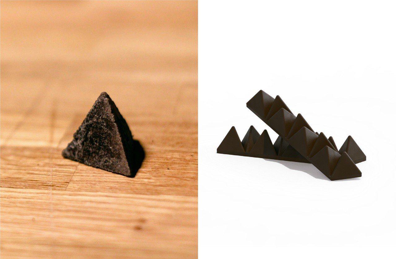 外觀看似瑞士三角巧克力的咖啡渣火種,容易攜帶,使用方便,是創辦人之一洪立失敗無數...