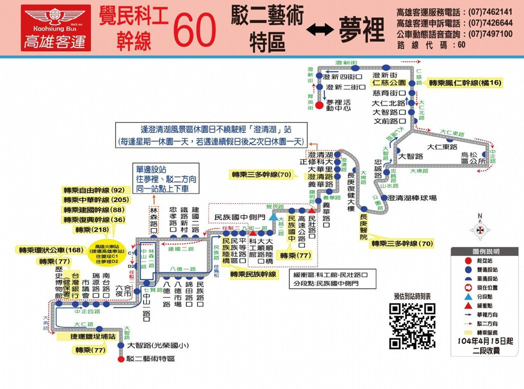 舊的公車路線圖,依道路方向繪製。圖/高市交通局提供