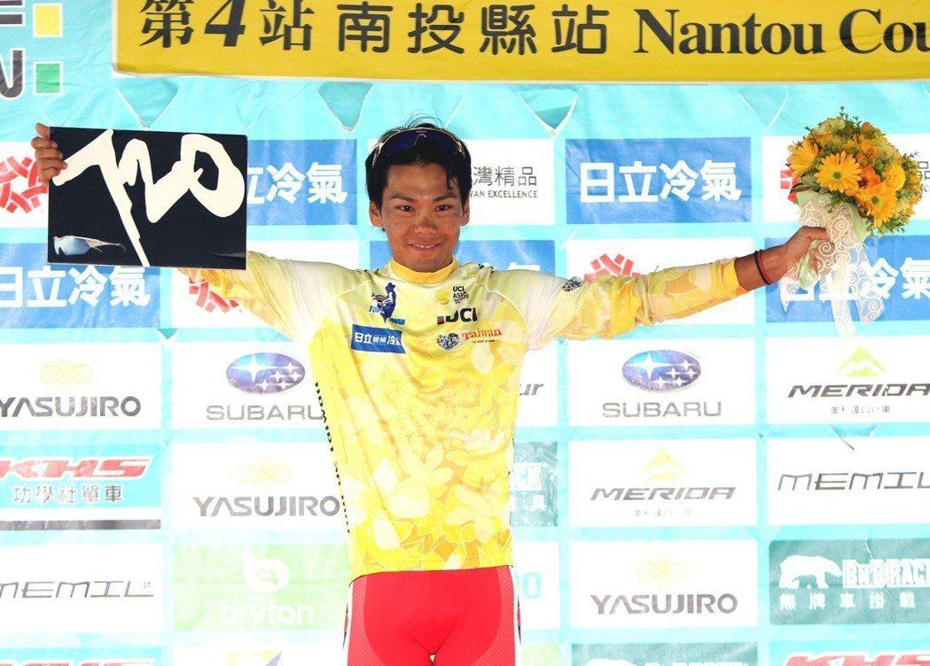 日本隊新城幸也超車成功,在第4站後穿上領先者黃衫。 圖/中華自由車協會提供