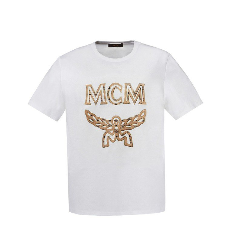 白色logo印花T恤,售價8,500元。圖/MCM提供