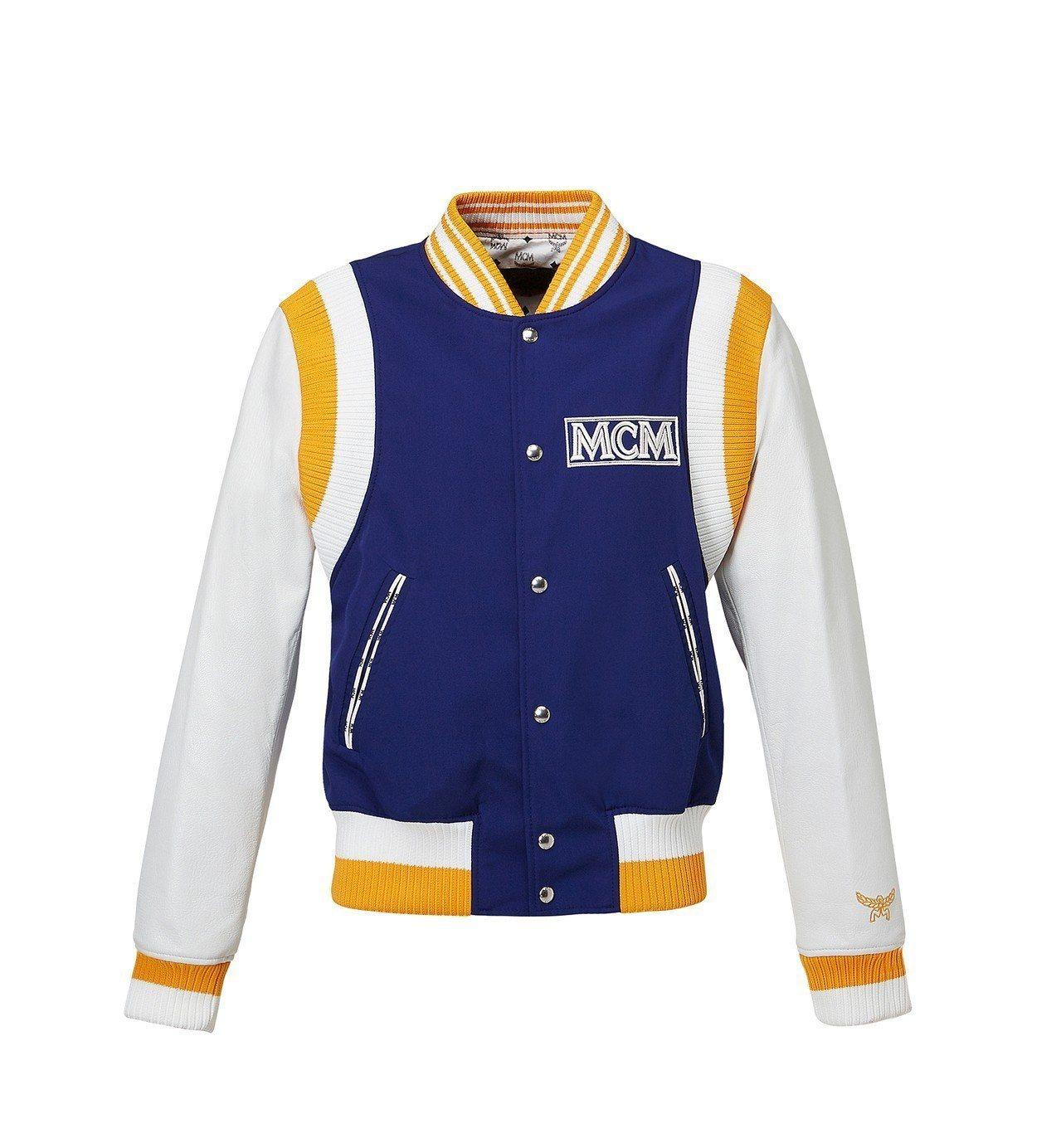皮質撞色拼貼棒球外套,售價43,500元。圖/MCM提供