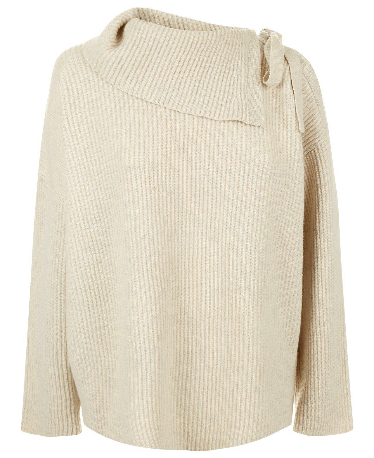 AllSaints Sura單肩蝴蝶結針織上衣,價格約8,700元。圖/AllS...