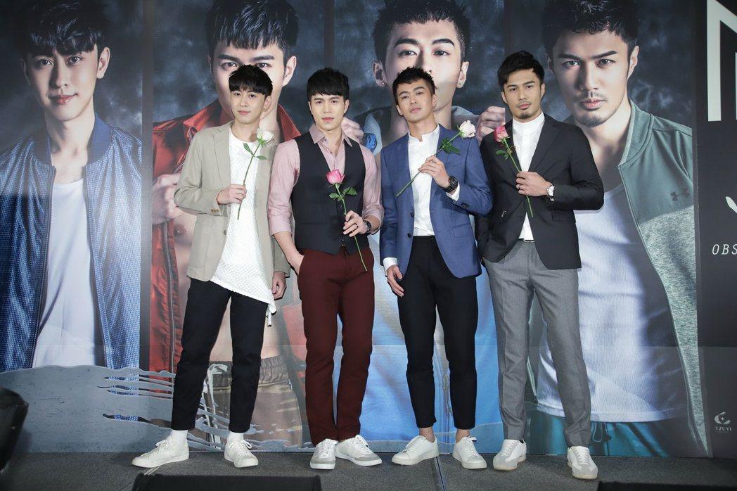 男團M4,左起盧煥剛、陳奕廷、鄭喬意、潘睿睿。圖/子壹娛樂提供