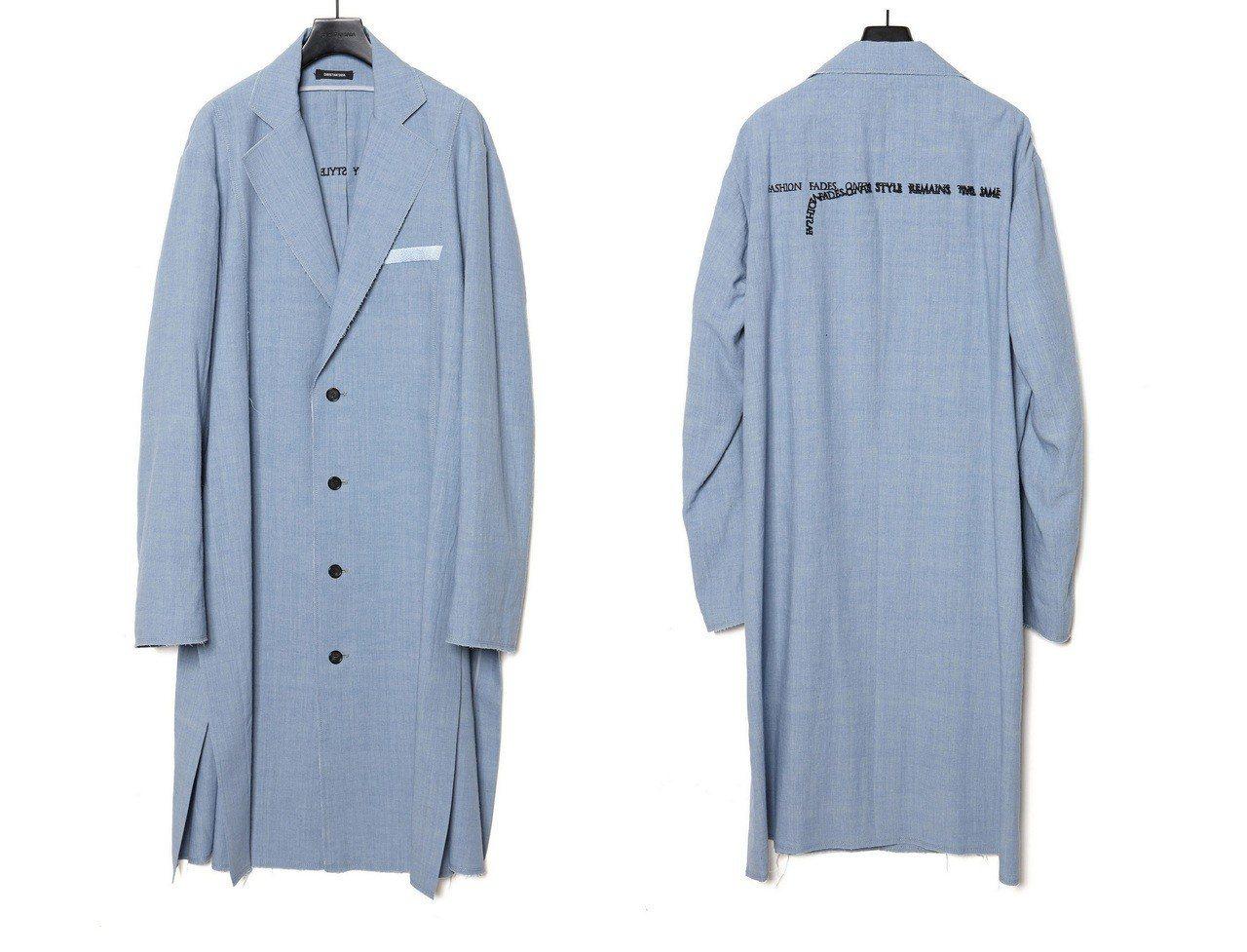 潘瑋柏穿Christian Dada刺繡字體長版大衣,約27,000元。圖/Ch...