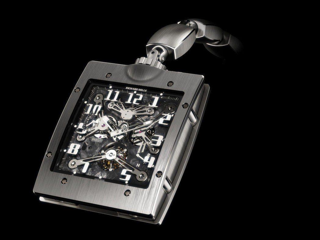 Richard Mille RM020陀飛輪懷表,採用特製鈦合金和納米碳纖維技術...