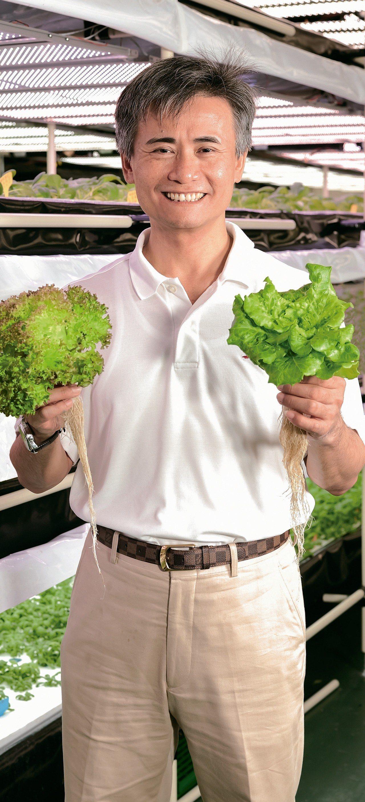 源鮮智慧農場董事長蔡文清,運用數據分析來種菜。 源鮮智慧農場/提供