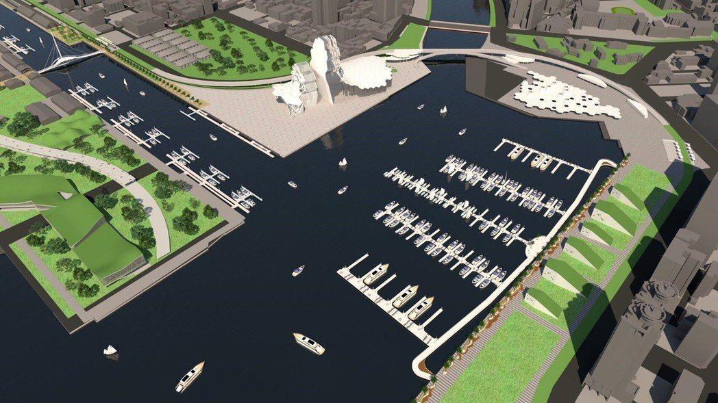 圖為亞洲新灣區遊艇碼頭示意圖,預定2018年底完工啟用,將媲美香港和澳洲國際級遊...