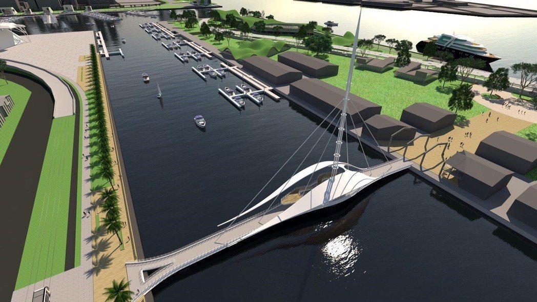 大港橋為一座具水平旋轉橋,可供人行及自行車道通行,預定3分鐘內完成運轉。 圖/台...