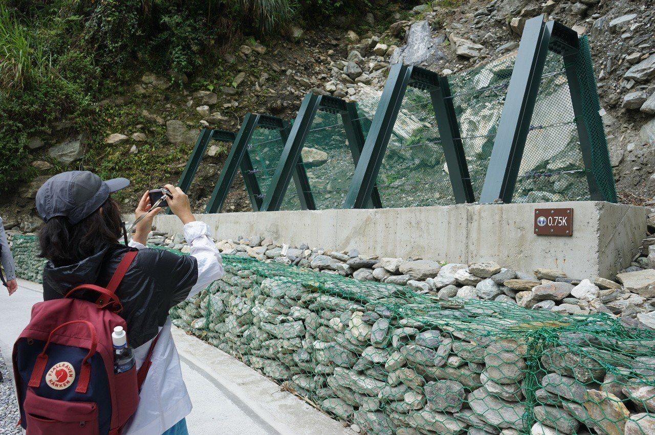 太魯閣白楊步道新設攔石柵,增加賞景的安全性。記者王燕華/攝影