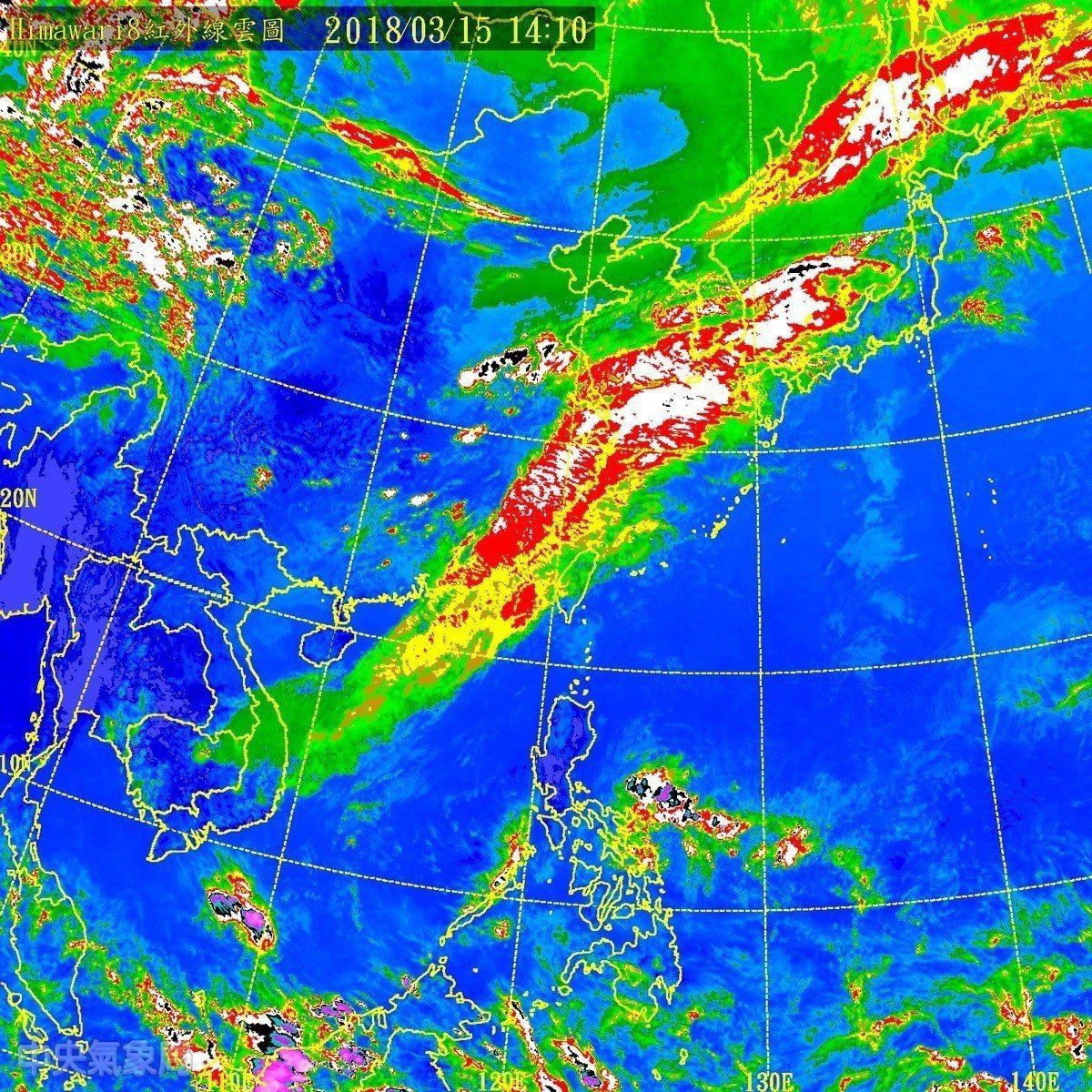 中央氣象局說,鋒面接近影響,目前台灣海峽有旺盛對流雲系發展並將移進陸地,今天下午...