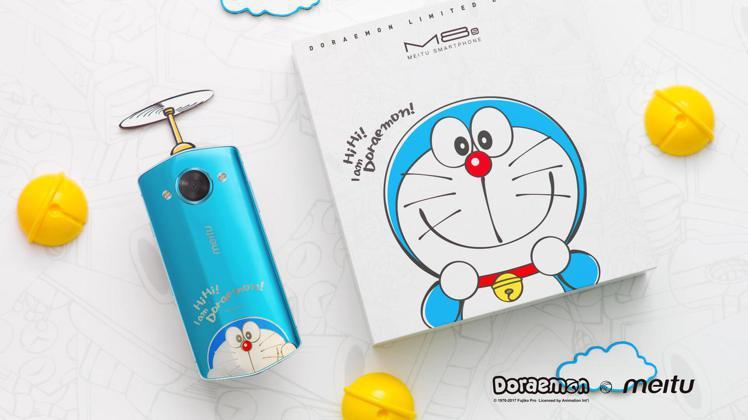 美圖M8s第2代哆啦A夢限量版,純真藍外觀加上哆啦A夢的萌臉,相當清爽可愛。圖/...