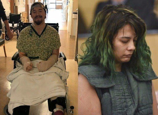 左圖為被砍傷的洛弗爾;右圖為砍傷男友的哈維爾。圖/取自oregonlive.co...