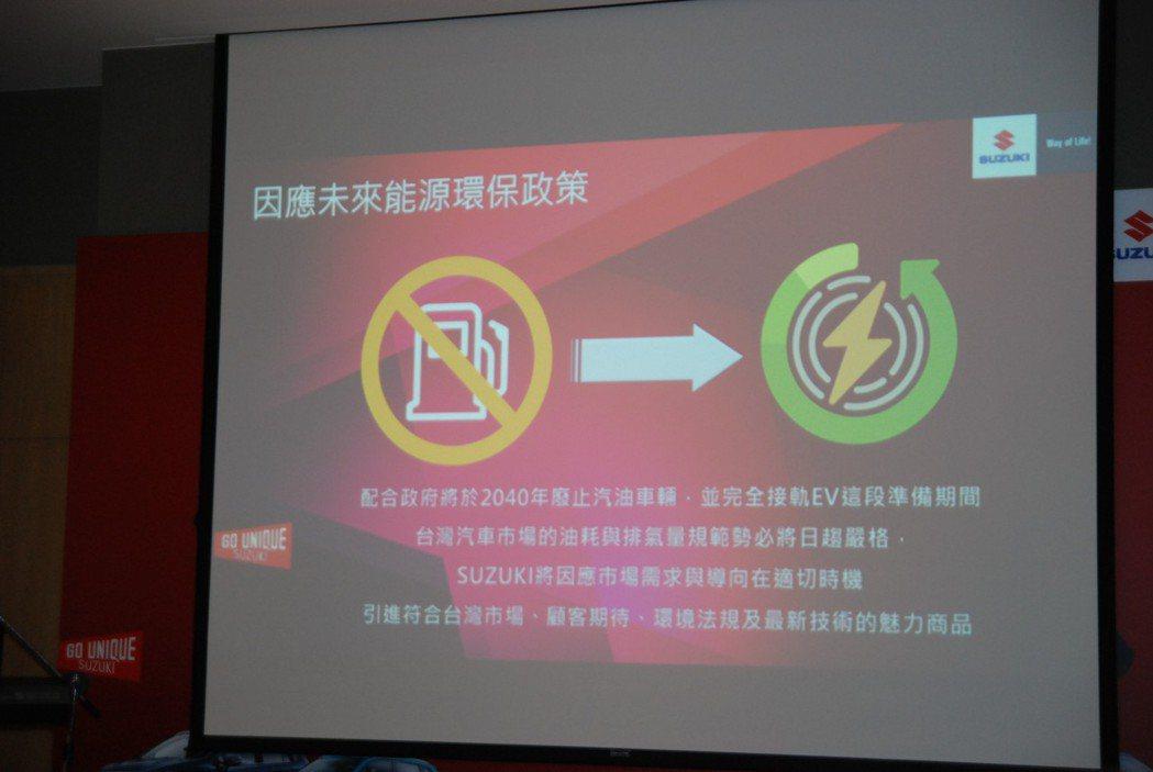 為因應政府2040年廢止汽油車的計畫,Taiwan Suzuki 也將於未來評估...
