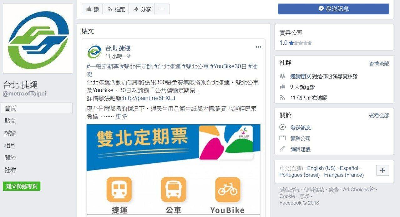 台北捷運官方臉書粉絲頁今天出現假冒版的「台北(空格)捷運」粉絲頁,還發布「即將送...