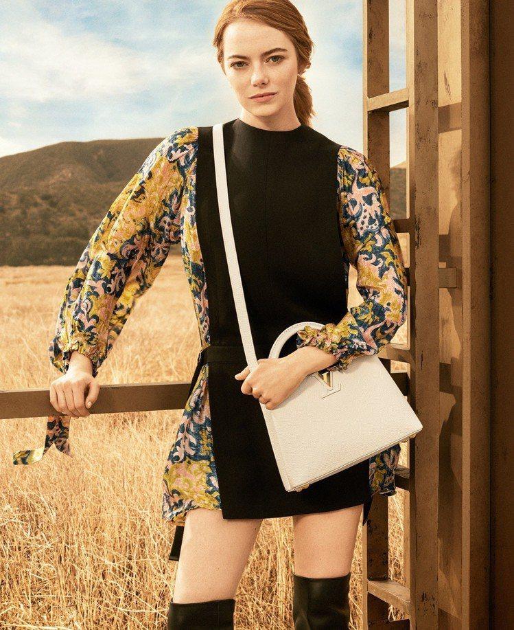 艾瑪史東的自信中帶有甜美,呼應品牌豐富多變的女性樣貌。圖/LV提供