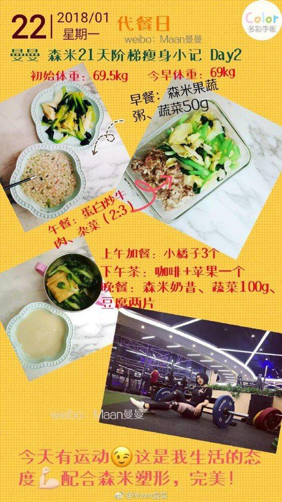 體重破百單親媽瘦身成功,她的每日特製菜單。取自微博