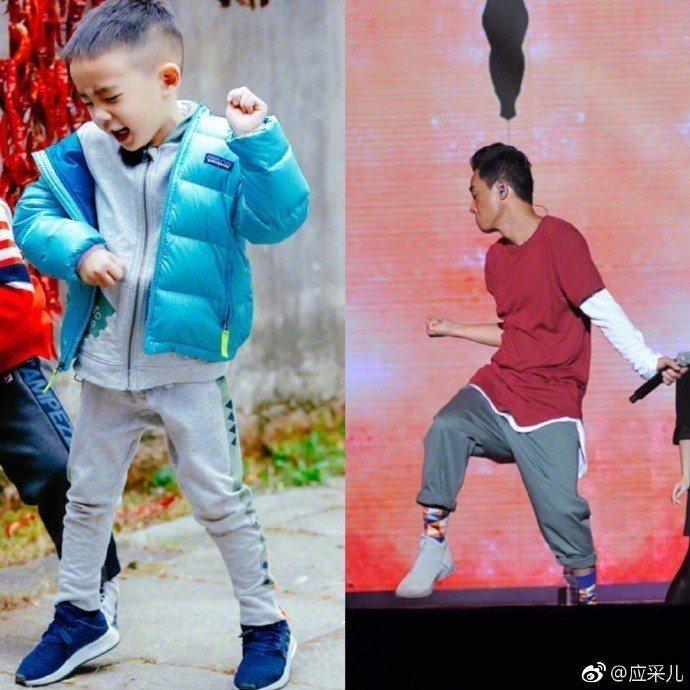 陳小春與Jasper父子。圖/摘自微博