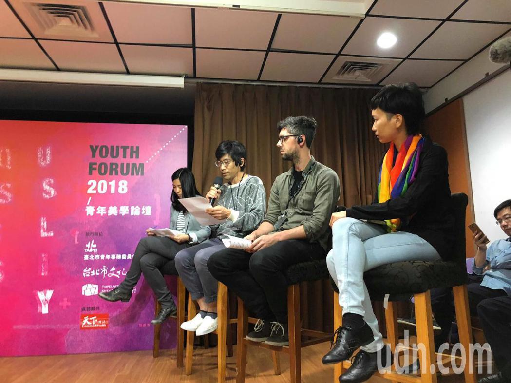 柯文哲今出席論壇,與藝術家討論台北文化的獨特性。記者陳靖宜/攝影