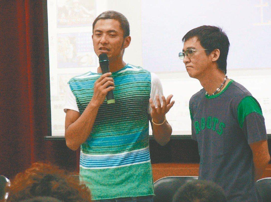 藝人洪其德(左)與友人現身說法,談酒駕肇禍的慘痛經驗。 圖/聯合報系資料照片