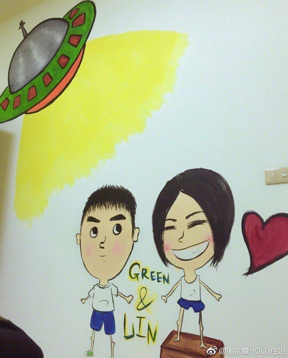 謝依霖與老公的畫像。 圖/擷自謝依霖微博