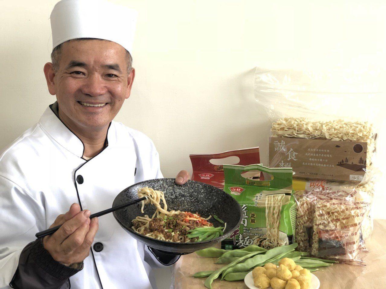 「旺來麵食館」店長劉偵奕經營自然農園,他認為,餐飲是良心事業,必須把客人當家人款...