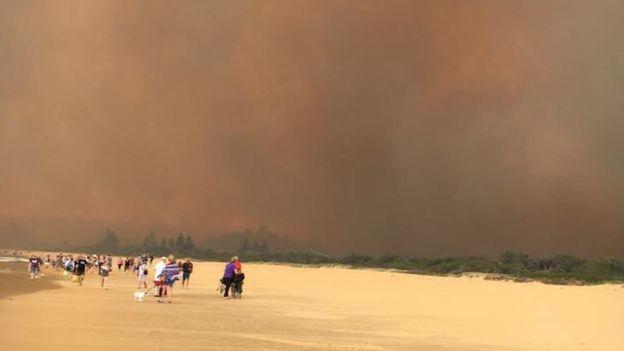 澳洲濱海小鎮塔斯拉叢林大火,當地居民從沙灘撤離。居民提供