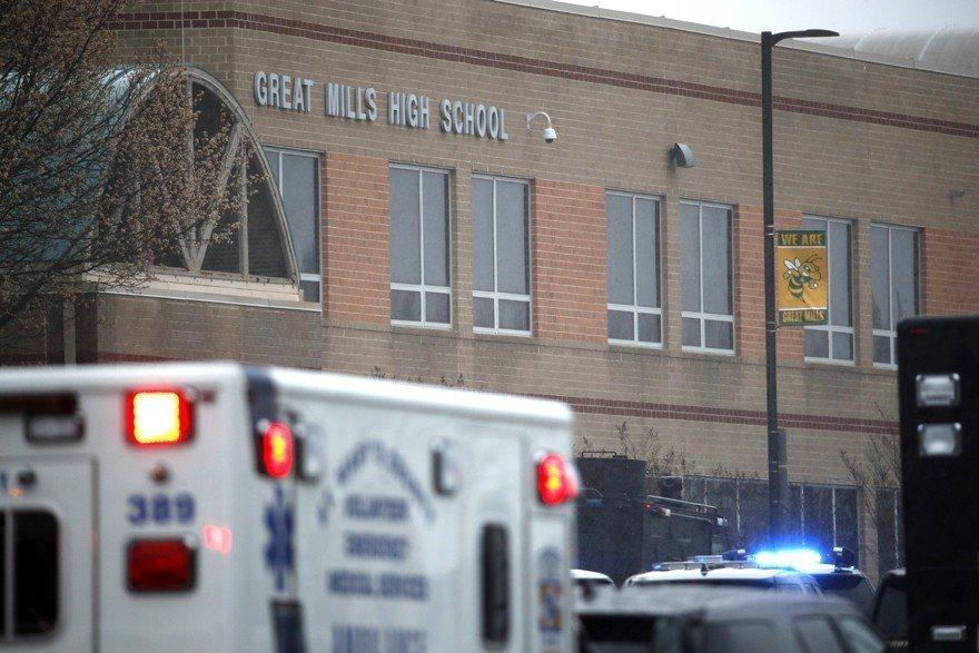 馬里蘭州大磨坊高中(Great Mills HS)20日上午發生槍擊案。美聯社