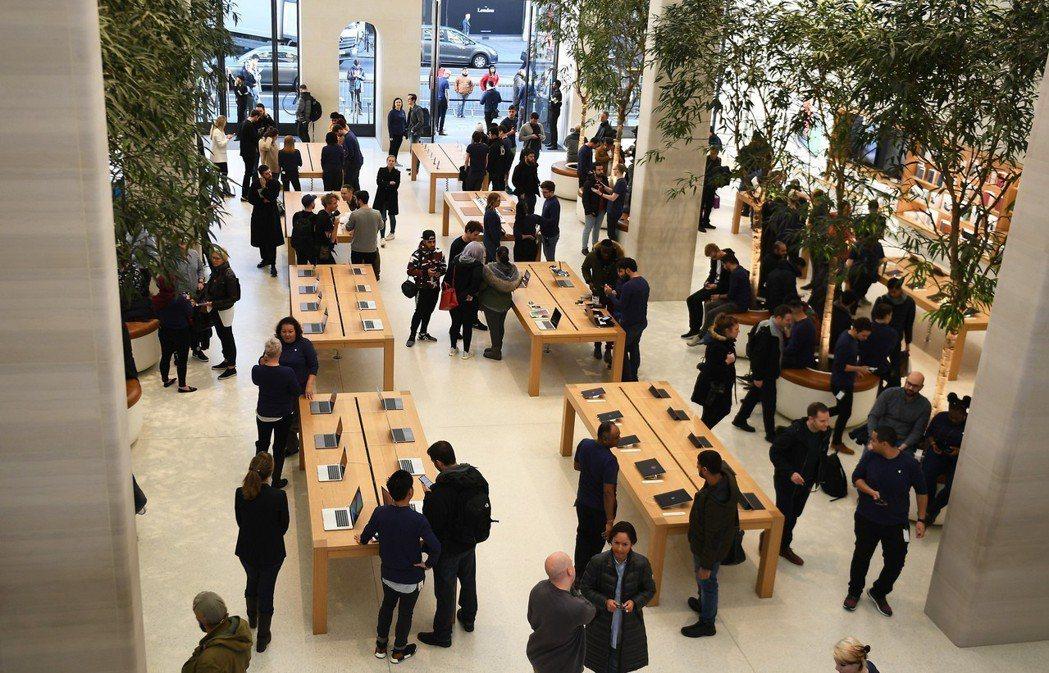 倫敦蘋果專賣店。歐新社