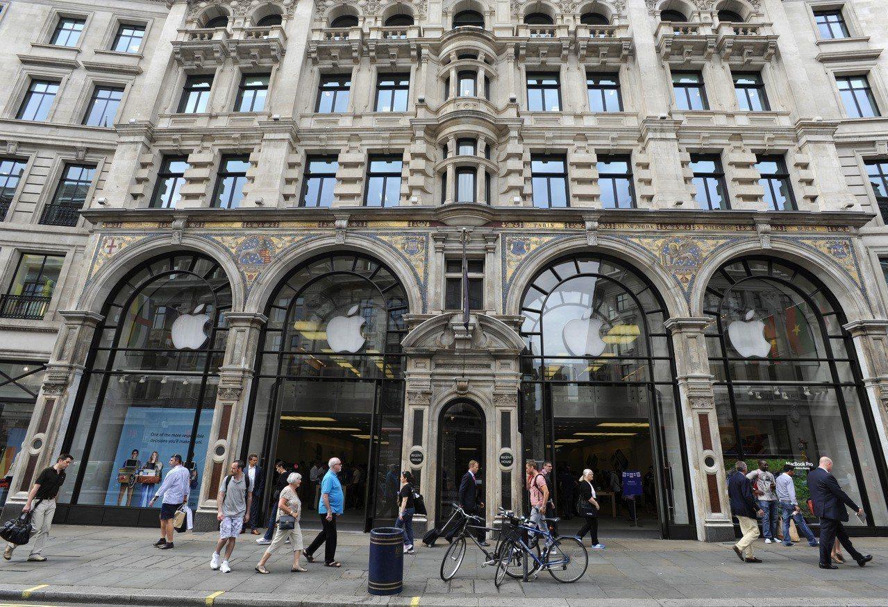 倫敦蘋果旗艦店。 歐新社