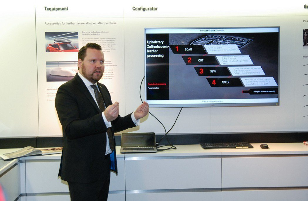 Porsche Exclusive Manufaktur區域經理Felix Schott特地從德國來台介紹保時捷客製化服務的精神與內涵。 記者林鼎智/攝影