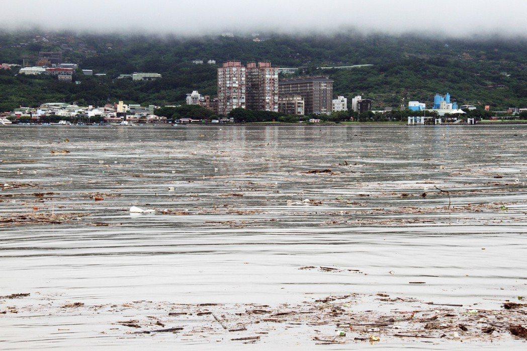 大量沖至河口的廢棄物來自於多雨的春末至夏季,並非終年固定的污染源。圖為台北市大雨...