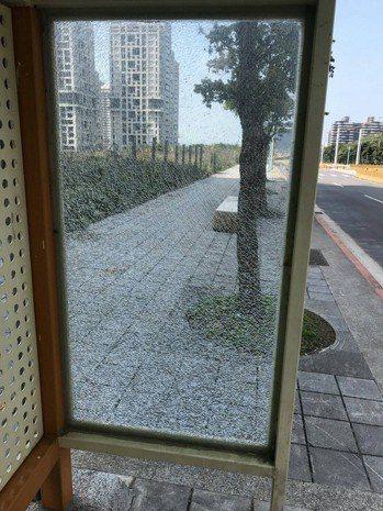 新市鎮內的好幾處公車候車亭玻璃碎成蜘蛛網狀,甚至有民眾因為誤觸而受傷,不排除是外...