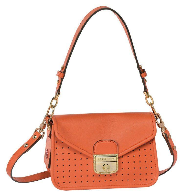 Mademoiselle Longchamp亮橙色迷你款,售價34,600元。圖...