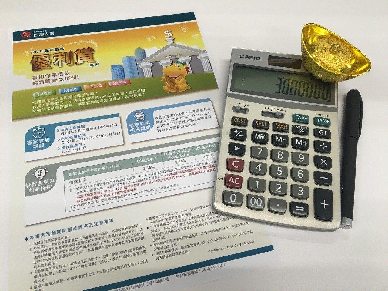 台灣人壽啟動優利貸保單借款專案,開放申請至9月底。台灣人壽/提供