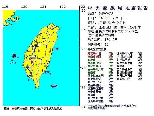 嘉義大埔地震規模5.2。圖/擷自中央氣象局