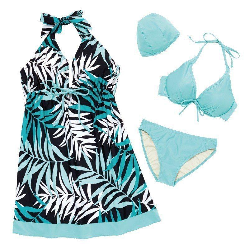 名人泳裝雨林系三件式泳衣原價3,980元,特價990元。圖/新光三越提供