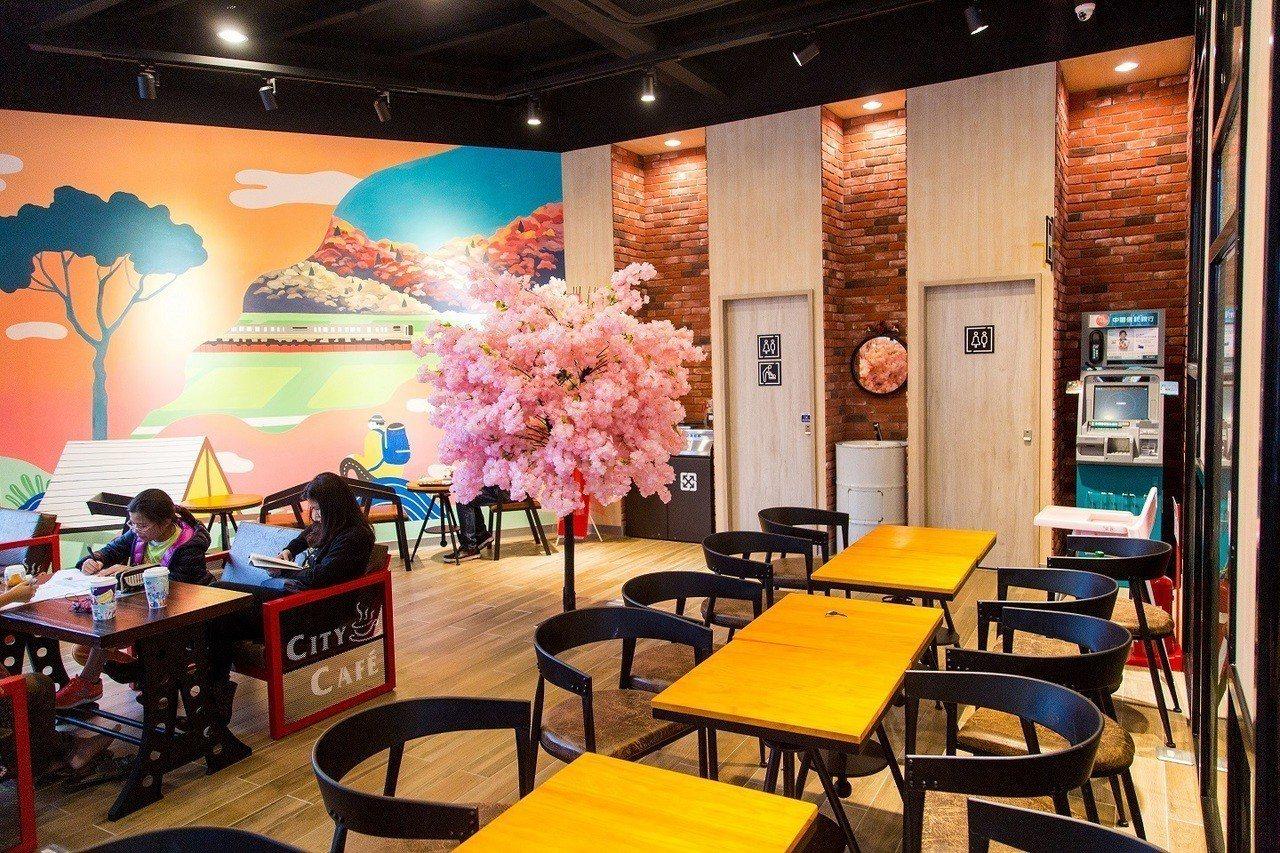 騰達門市運用多株人造櫻花樹點綴門市風采。圖/7-ELEVEN提供