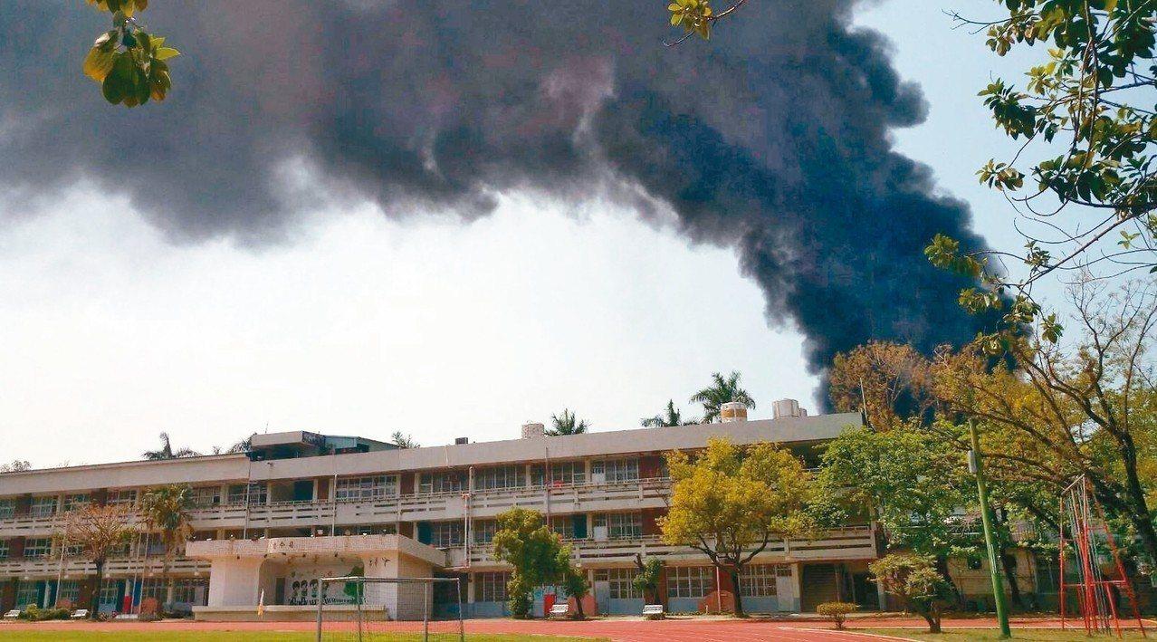 高雄市鳥松區水管路工廠火警,濃煙吹向百公尺外的鳥松國中,師生形容,當時濃煙就在學...