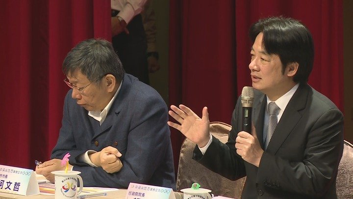 行政院下鄉巡迴最後一站和台北市政團隊會面,賴清德與柯文哲互動不多。記者龔盈全/攝...