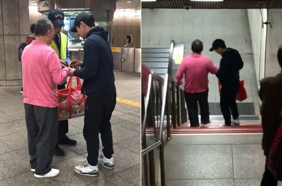 一名男子協助視障者進捷運站搭捷運,網友大讚好有愛心。 圖擷自爆料公社