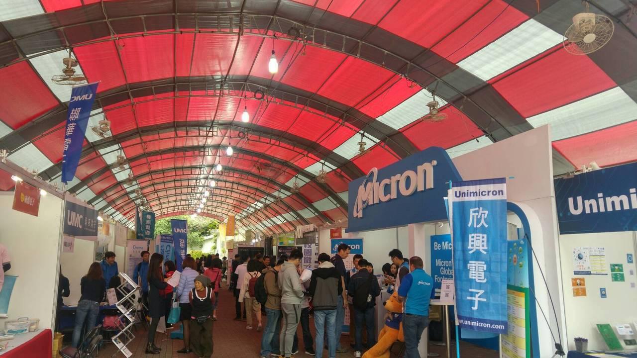 台北科技大學今日辦理校園徵才博覽會,吸引上百家企業參與,包括台積電、鴻海、大立光...