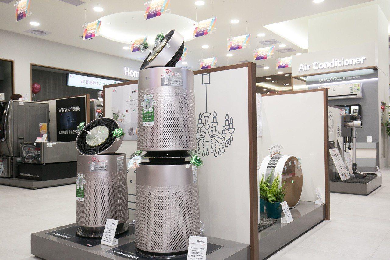 擁有360度循環扇的LG PuriCare 360°空氣清淨機,配備清淨循環扇以...