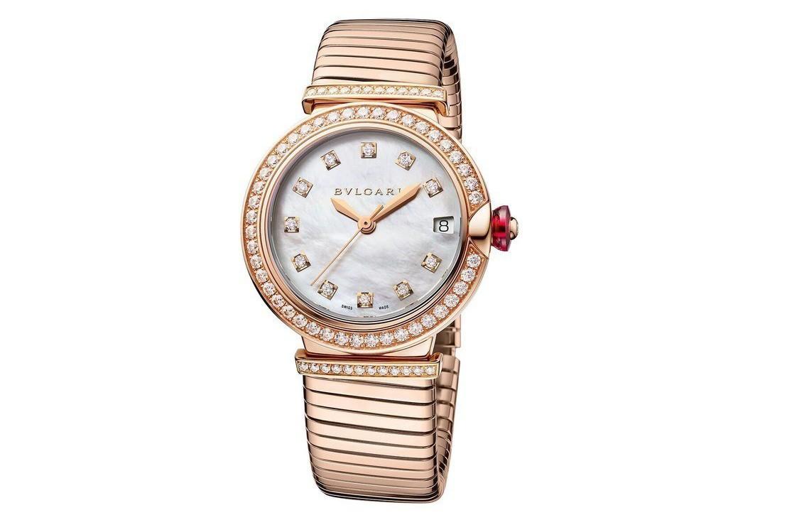 舒淇配戴寶格麗全新Lvcea Tubogas玫瑰金鑲鑽腕表,價格未定。圖/Bvl...
