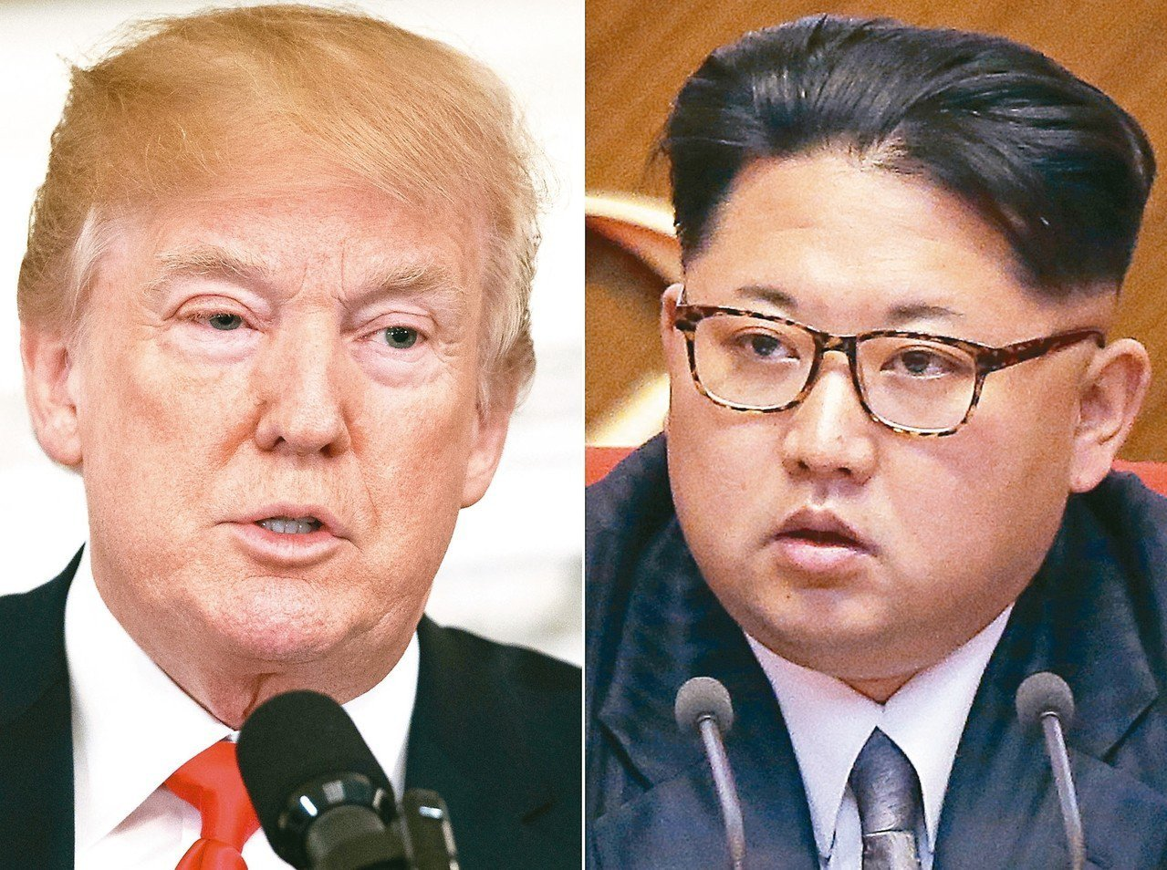 美國總統川普(左)、北韓領導人金正恩(右)破冰會談?各界拭目以待。 美聯社