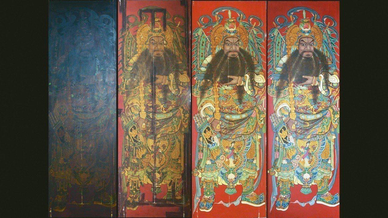圖十:蔡舜任,潘麗水門神彩繪「尉遲恭」修復過程。