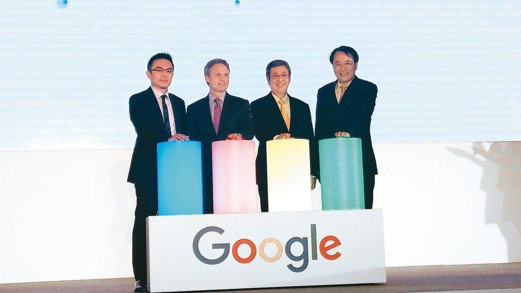 Google宣布啟動「智慧台灣」計畫,積極培養台灣AI人才。左起為Google台...