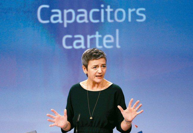 歐盟反壟斷執委瑪格麗特.維斯塔格21日在記者會表示,歐盟懲罰八家壟斷電容器市場的...